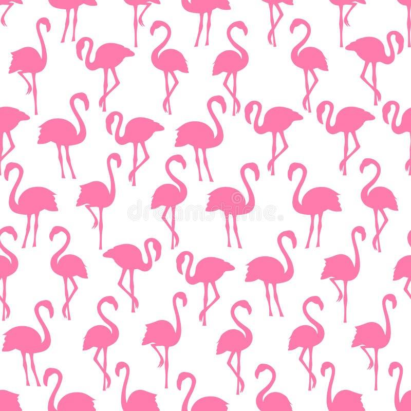 O flamingo cor-de-rosa mostra em silhueta o teste padrão sem emenda no fundo branco ilustração do vetor