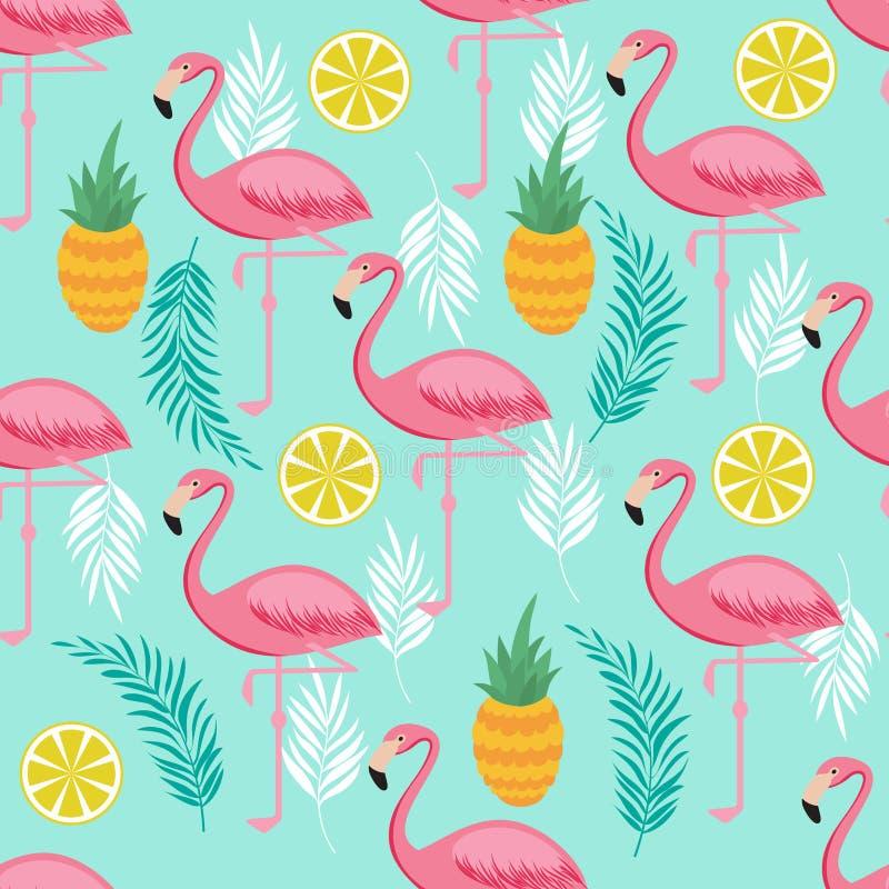 O flamingo cor-de-rosa, os abacaxis e as folhas exóticas vector o teste padrão sem emenda ilustração stock