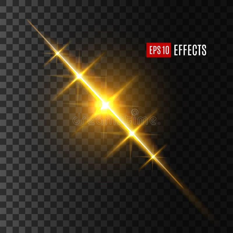 O flash ou o sol e a estrela claros brilham o efeito ilustração stock
