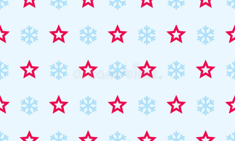 O floco de neve e a estrela do Natal vector o fundo sem emenda do teste padrão para o cartão do feriado de inverno Linha lisa sim ilustração do vetor