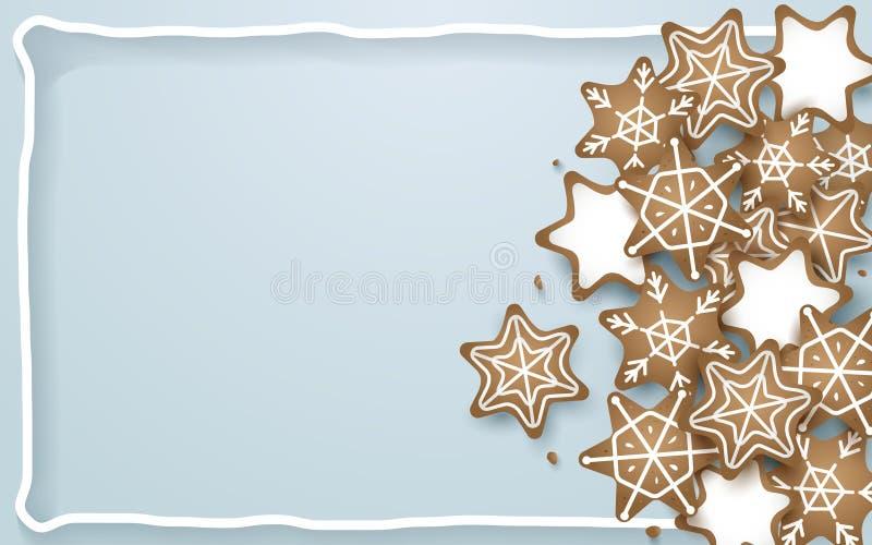 O floco de neve, estrela, cookies dá forma no fundo azul macio ilustração do vetor