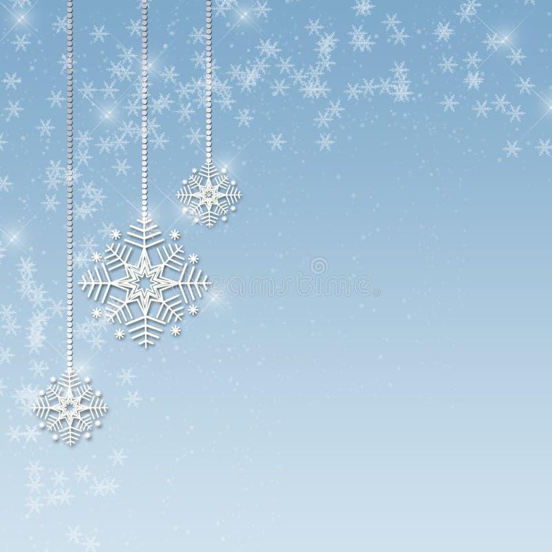 O floco de neve Ornaments o azul ilustração do vetor