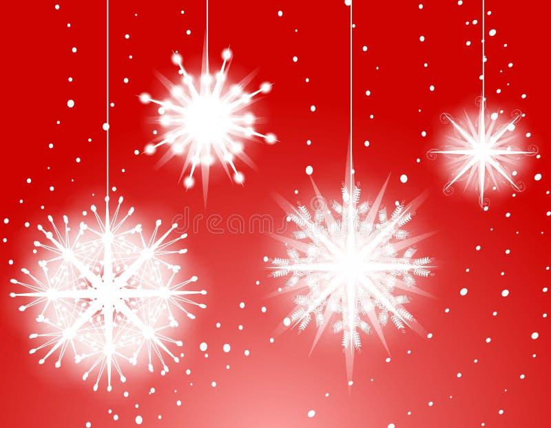O floco de neve vermelho Ornaments o fundo ilustração royalty free