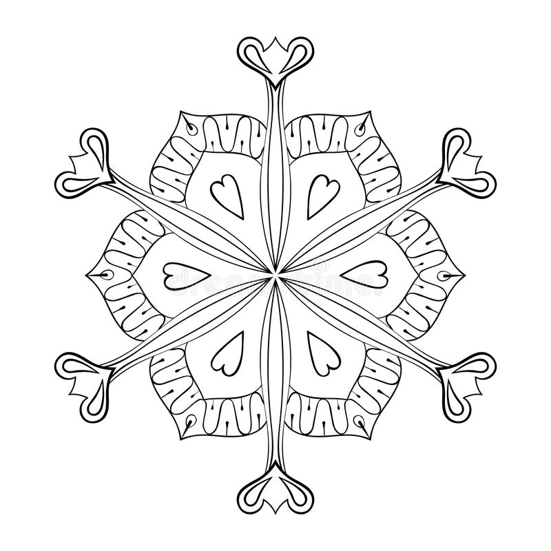 O floco de papel da neve do entalhe do vetor no estilo do zentangle, rabisca mandal ilustração do vetor