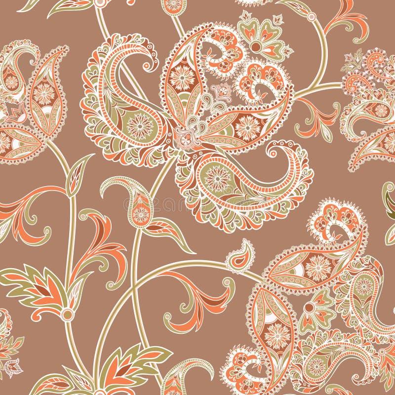 O Flourish telhou o teste padrão Origem étnica oriental floral Arabi ilustração stock