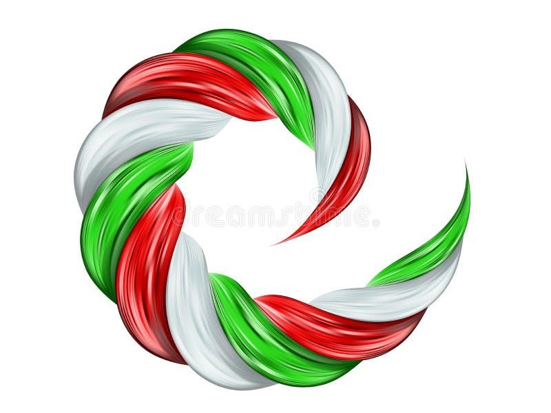 O fluxo da cor da espiral da bandeira de Itália detalhou a pintura da onda ilustração stock