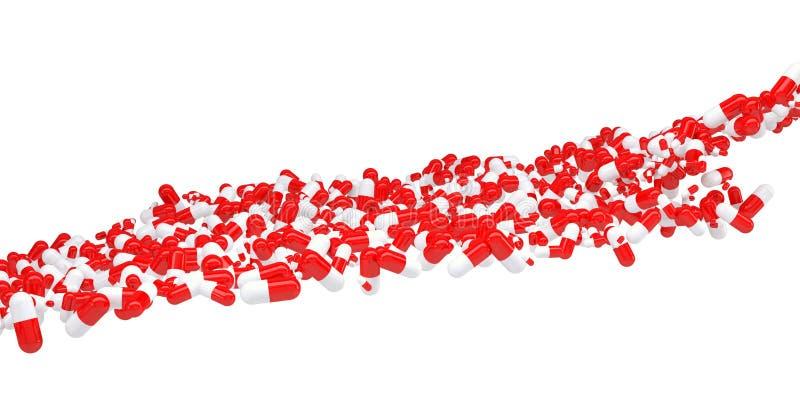 O fluxo de comprimidos vermelhos e brancos ilustração stock