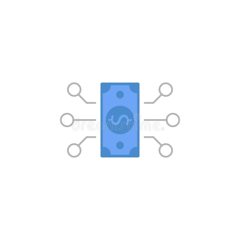 O fluxo, dinheiro, transação, transfere o ícone azul e cinzento de duas cores ilustração do vetor