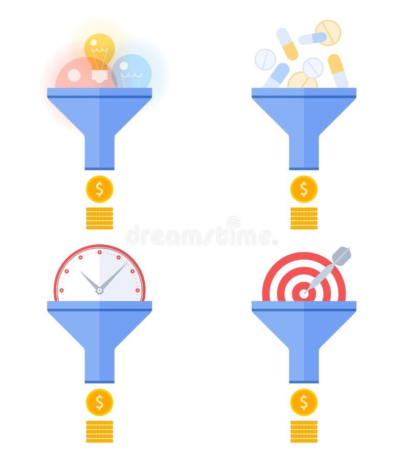 O fluxo do funil converte a escolha de objetivos, introduzindo no mercado, gestão, ideias a ilustração do vetor