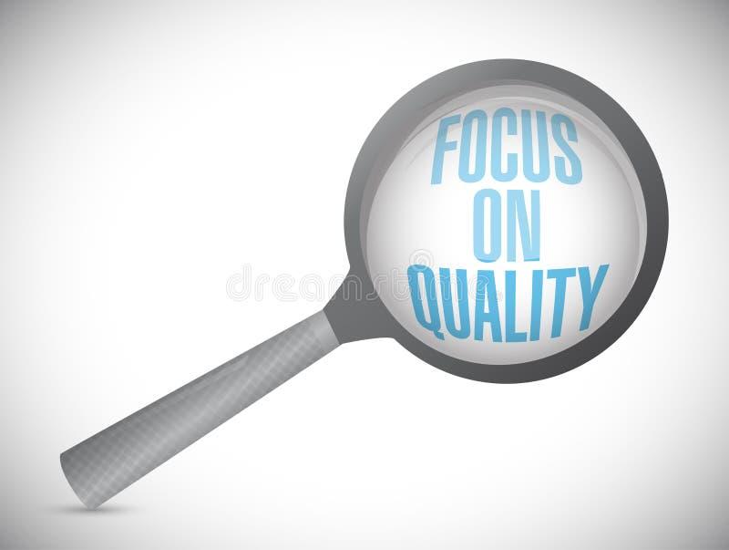 O foco na qualidade amplia a ilustração do texto ilustração stock