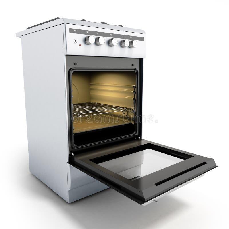 O fogão de gás aberto 3d rende isolado em um fundo branco ilustração stock