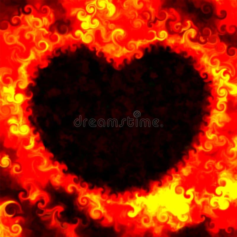 O fogo abstrato do dia de são valentim do grunge do amor colore o fundo do coração ilustração do vetor