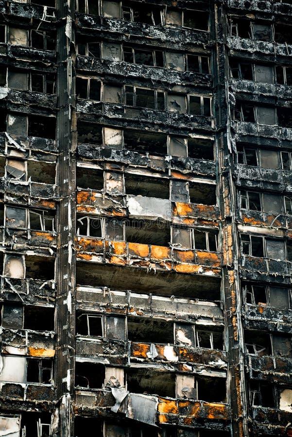 O fogo da torre de Grenfell imagem de stock royalty free