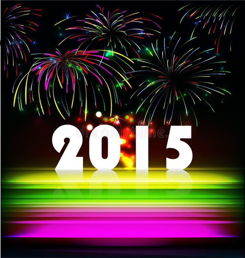 O fogo de artifício e o ano 2015 fizeram do efeito de néon colorido ilustração stock