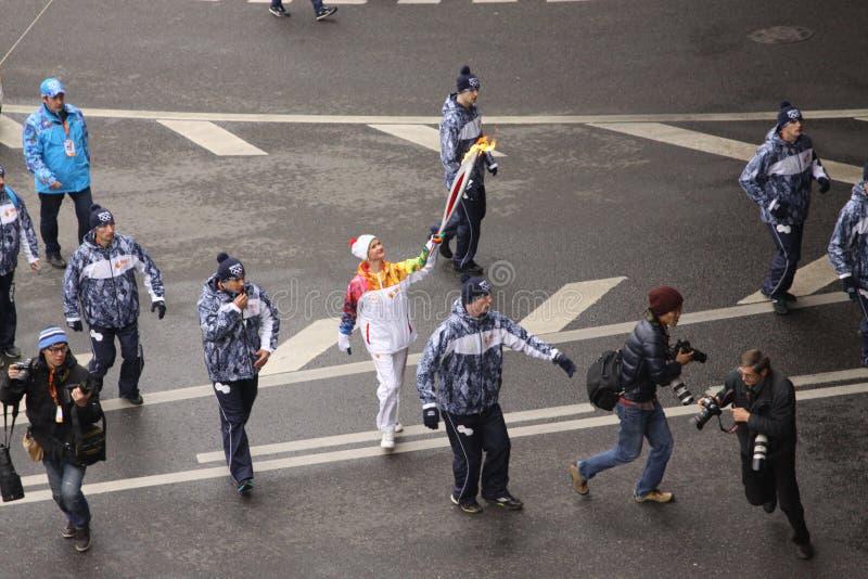O fogo de Olimpic em Moscovo fotografia de stock royalty free
