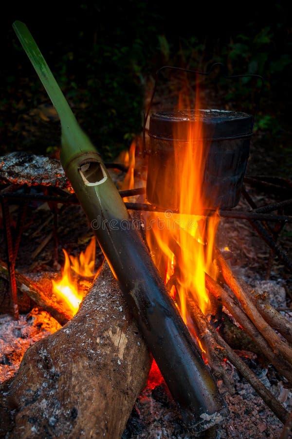 O fogo do campista que cozinham pelo potenciômetro do campo e a fervura molham pelo bambu verde imagens de stock royalty free