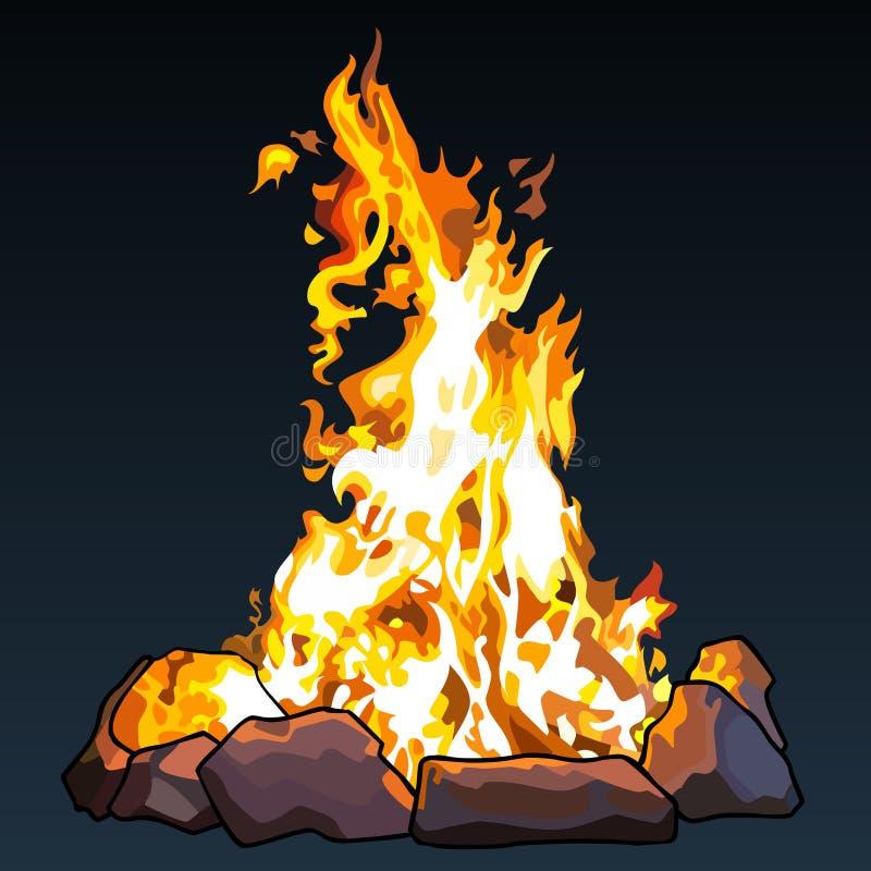 O fogo grande tirado nas pedras está em um fundo escuro ilustração stock