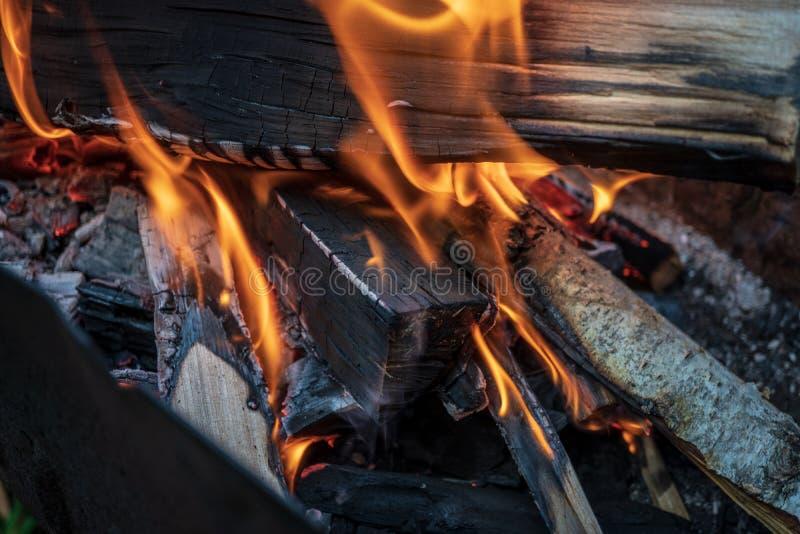 O fogo no assado, lenha está queimando-se foto de stock royalty free