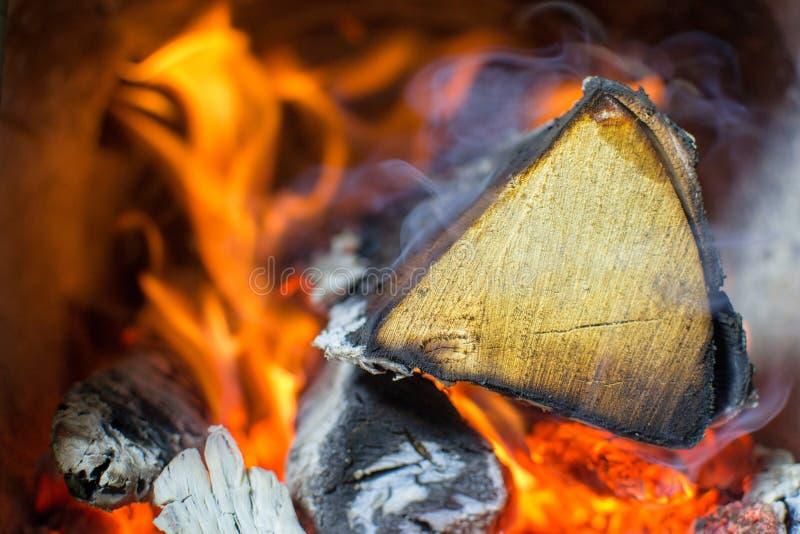 O fogo queima-se no fogão, madeira de vidoeiro fotografia de stock royalty free