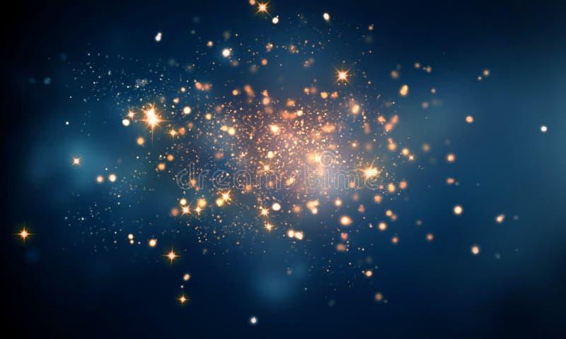 O fogo sparkles na obscuridade - fundo azul do bokeh