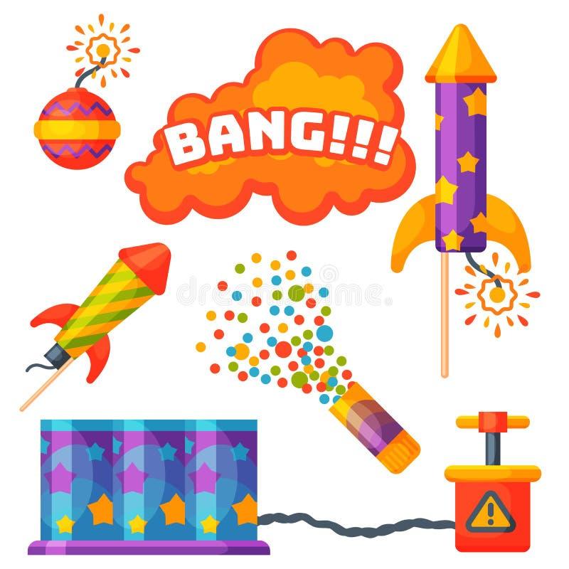 O foguete da pirotecnia dos fogos-de-artifício e o presente da festa de anos do flapper comemoram ferramentas do festival da ilus ilustração do vetor