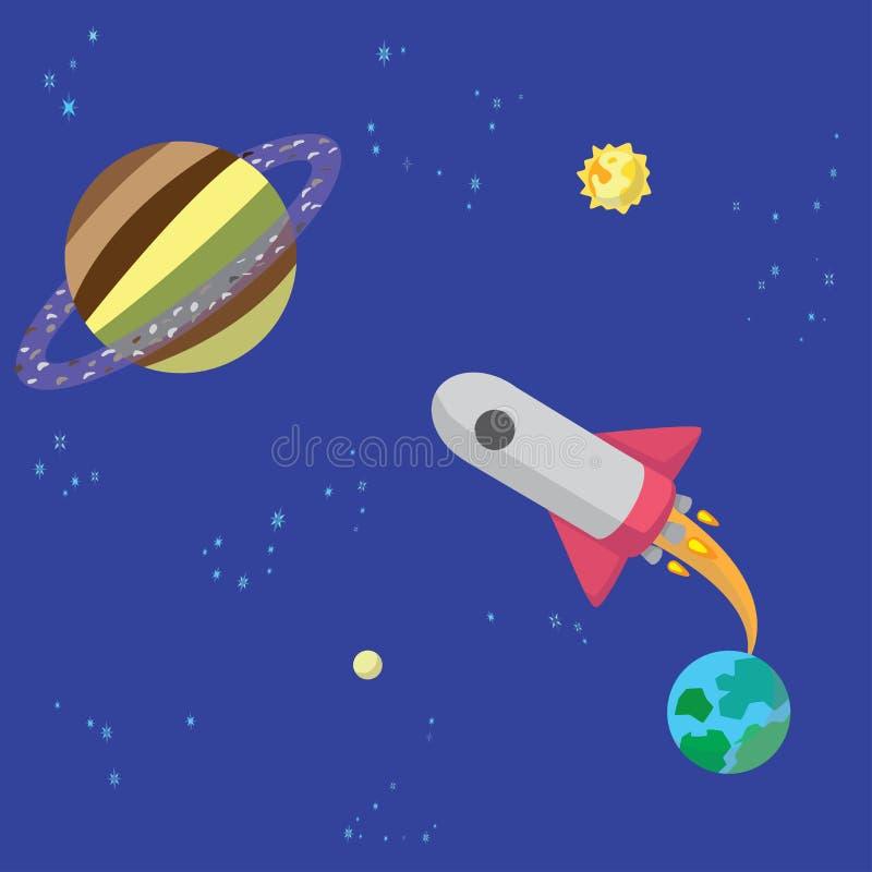 O foguete decola da terra a Saturn fotos de stock