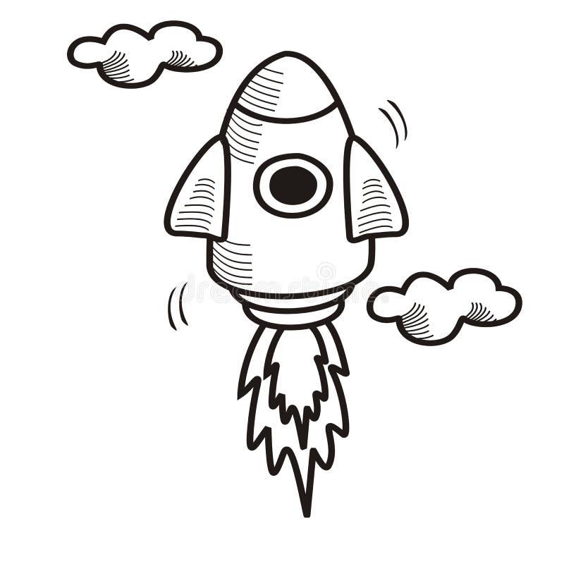 O foguete disparou acima do esboço tirado mão ilustração do vetor