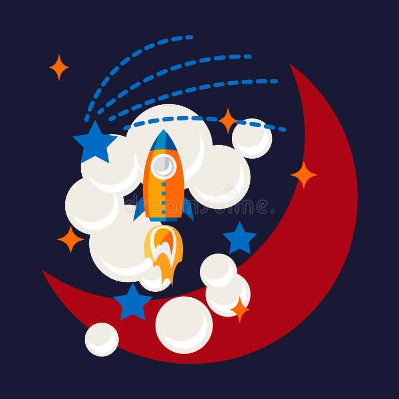 O foguete e a lua dos desenhos animados na camisa do espaço t projetam ilustração royalty free