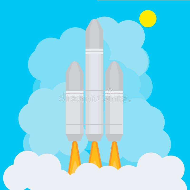 O foguete voa acima ilustração do vetor
