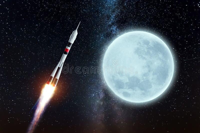 O foguete voa no espaço contra o pano de fundo da lua O conceito de exploração espacial, lançamento por satélite, voo para a lua ilustração do vetor