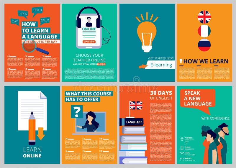 O folheto da educação cobre Moldes de capa de revista do vetor do treinamento e dos cursos ilustração stock