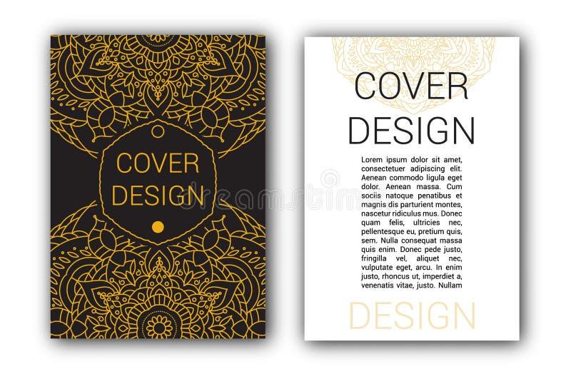 O folheto da ramadã do ouro pagina a ilustração do vetor do ornamento ilustração royalty free