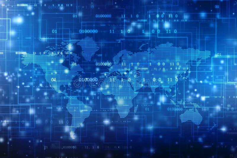 2.o fondo del extracto del mapa del mundo del ejemplo, fondo global de la comunicaci?n de Internet stock de ilustración