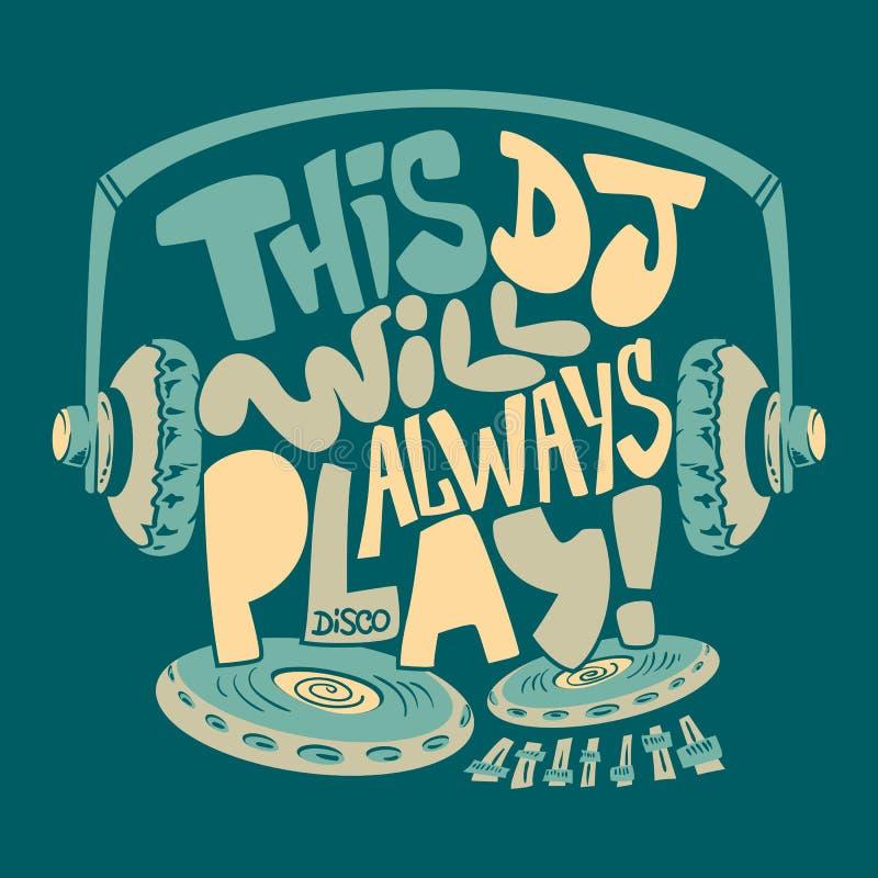 O fones de ouvido do DJ, a tipografia e os gráficos do t-shirt imprimem ilustração royalty free