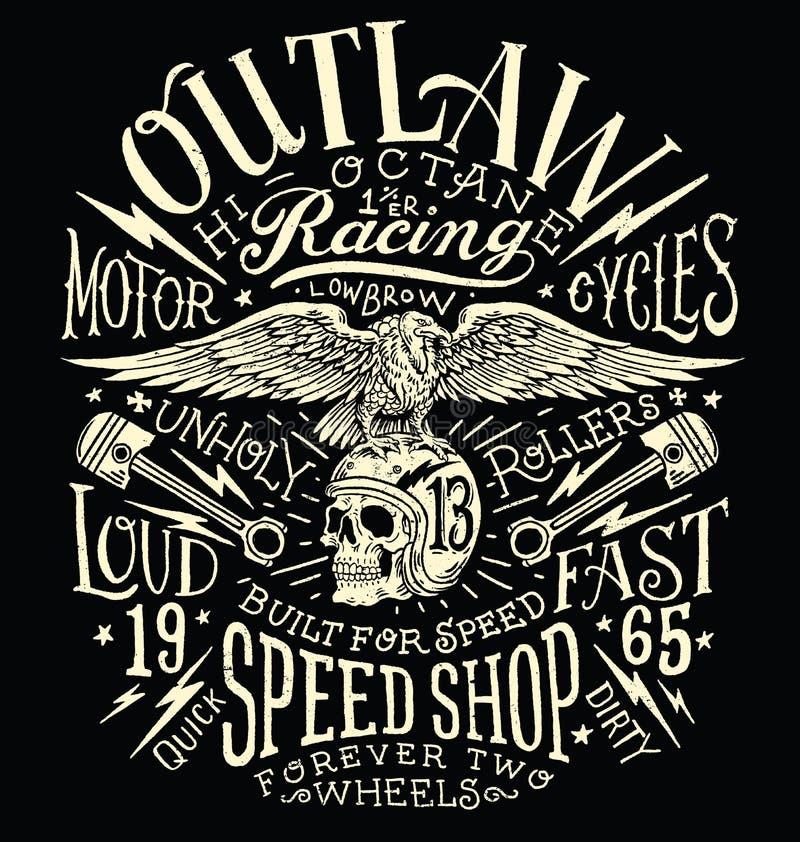O fora da lei viaja de automóvel o gráfico do t-shirt do vintage ilustração royalty free