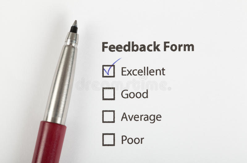 O formulário do feedback verific com o excelente fotos de stock
