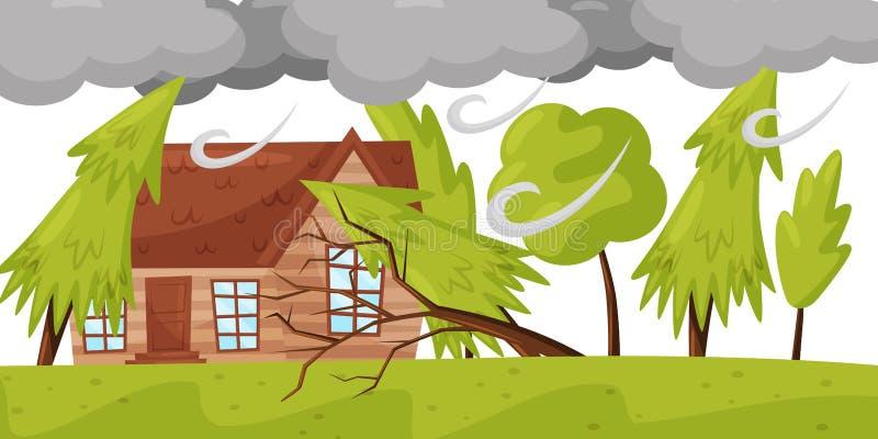 O forte vento quebra árvores Casa de vida e nuvens cinzentas enormes Disastre natural Tema do ventania Projeto liso do vetor ilustração do vetor