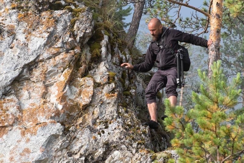 O fotógrafo do viajante calvo com uma barba vem para baixo da montanha que guarda a árvore com sua mão Curso e turismo foto de stock royalty free