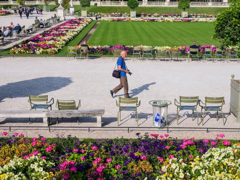 O fotógrafo masculino dá uma volta através do jardim de Luxemburgo, Paris, Fran fotos de stock royalty free