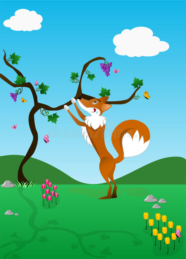 O Fox e as uvas   ilustração stock