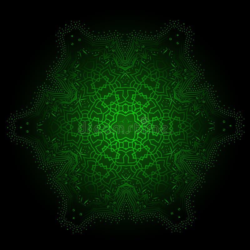 O Fractal étnico Mandala Vetora Meditation de incandescência olha como a neve ilustração stock