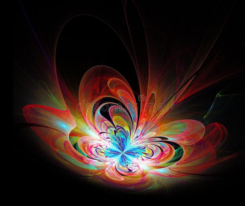 O fractal colorido 3d da borboleta da ilustração rende ilustração do vetor