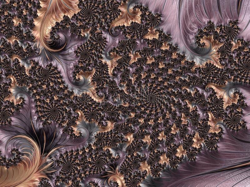O fractal espiral floral textured abstrato do ouro e da violeta, 3d rende para o cartaz, o projeto e o entretenimento Fundo para  ilustração stock