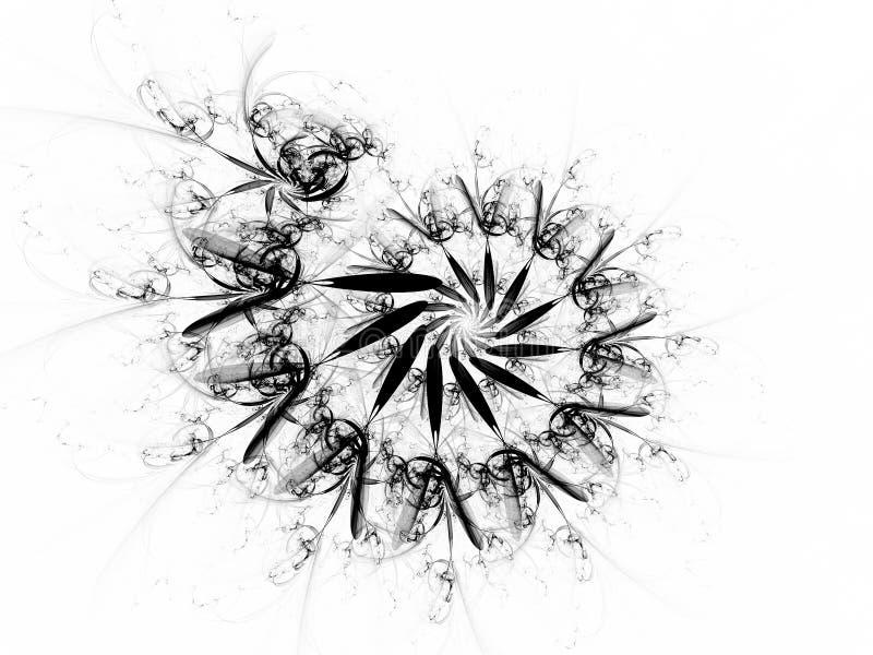 O Fractal espiral preto e branco da chama da porta final ilustração stock