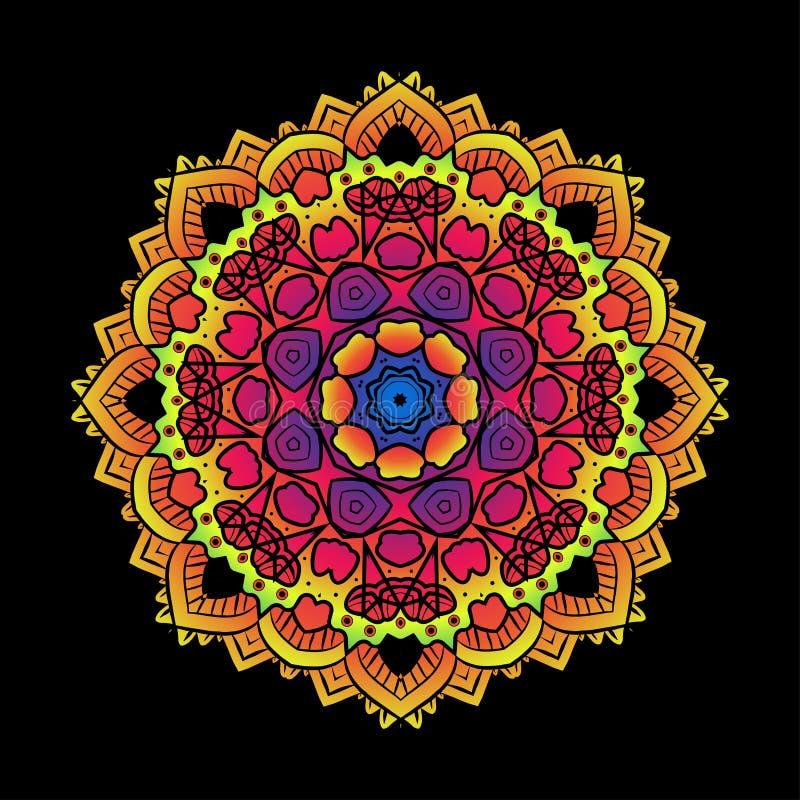 O Fractal psicadélico étnico Mandala Vetora Meditation olha o gosto ilustração do vetor