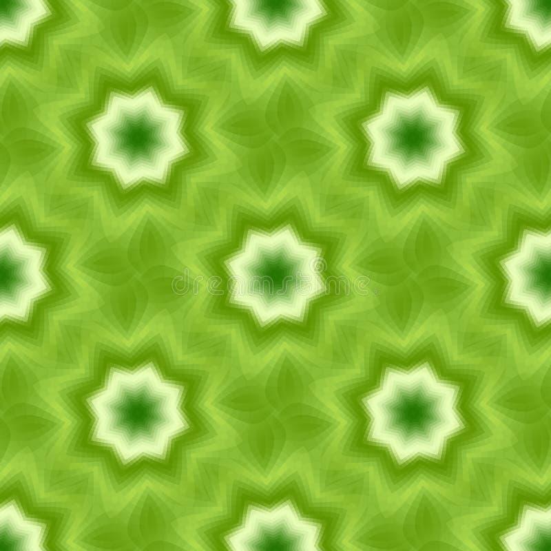 O fractal sem emenda verde baseou a telha com a estrela de oito pontos ou a flor e as folhas ilustração royalty free