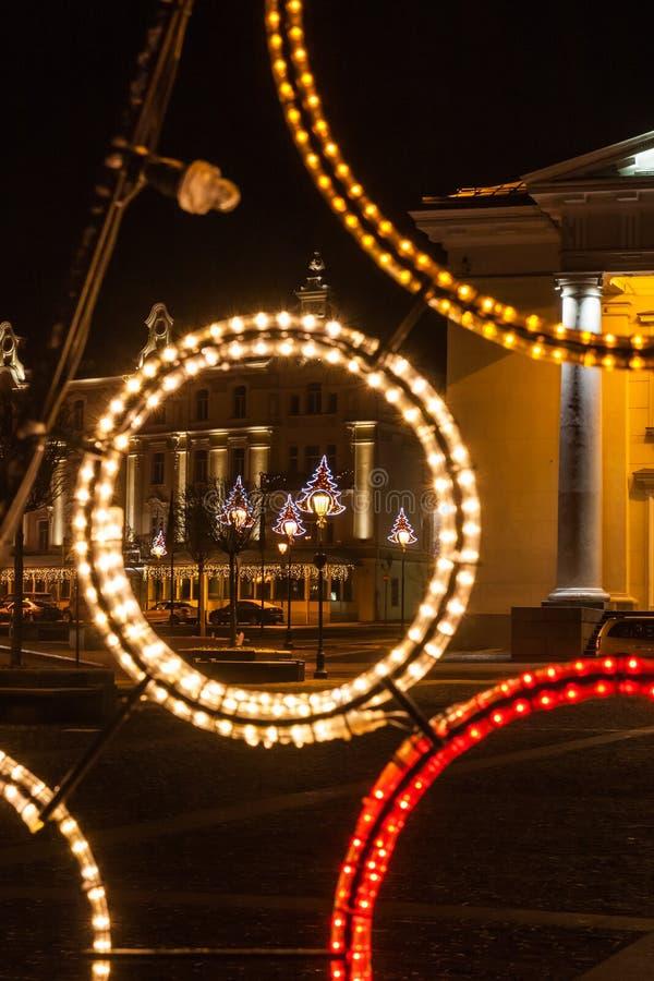 O fragmento da composição do Natal na cidade Hall Square, Vil fotos de stock