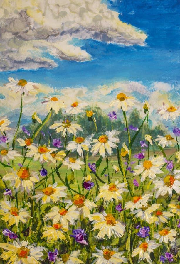 O fragmento do close up, texture a pintura a óleo original das flores, campo bonito floresce na lona Impressionismo moderno Artwo imagem de stock royalty free