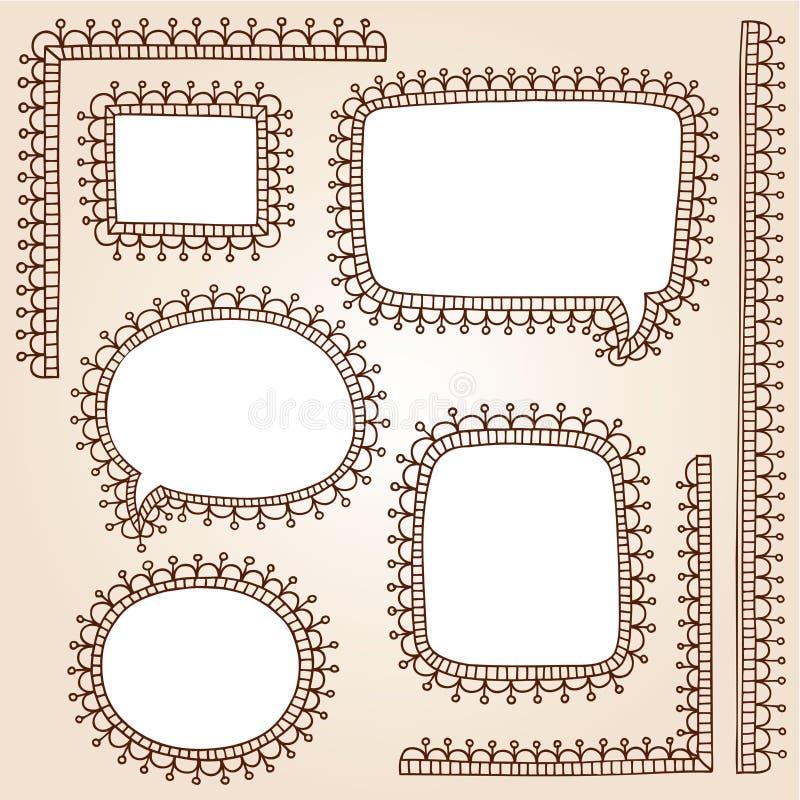 O frame do Henna Doodles o vetor do tatuagem de Mehndi ilustração royalty free