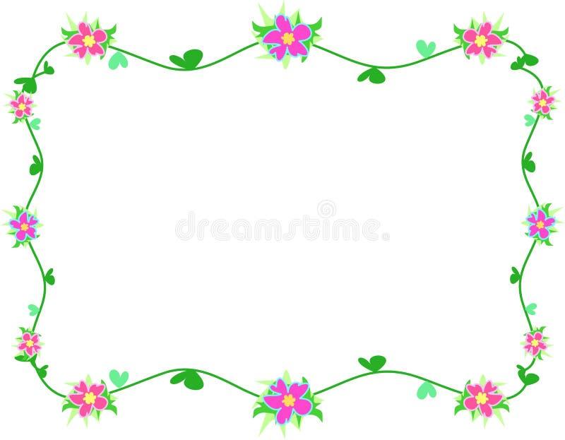 O frame do hibiscus floresce, videiras, e folhas do coração ilustração do vetor
